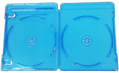 100 x 11MM BLUE BLU RAY DVD CD CASE DOUBLE WITH MOLDED LOGO STORAGE CASE CASES