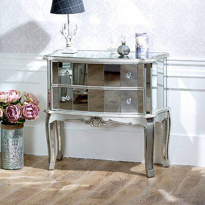Mirrored 2 drawer chest shabby french chic bedroom furniture vintage style home