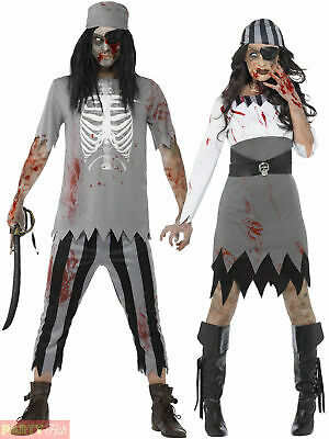 Adult Zombie Pirate Costume Mens Ladies Halloween Ghost Fancy Dress Woman Outfit