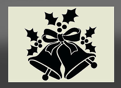 Christmas Bells & Holly  Stencil - Various Sizes - Made From High Quality Mylar