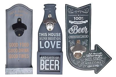 Vintage Shabby Chic Wooden Beer Bottle Opener Wall Hanging in Grey & Black