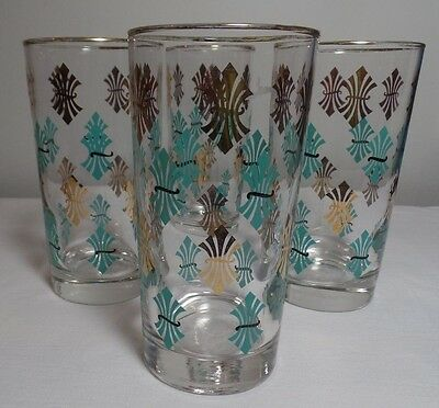 4 Piece Vintage Libbey Tumbler Set Teal, Black and Gold