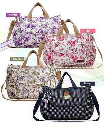 5pcs Luxury Large Floral Multifunction Waterproof Baby Nappy Changing Bag Teddy