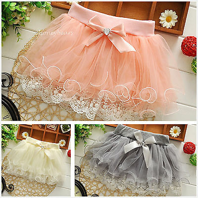 Girls Layered Skirt with Lace Pink/Grey/Champagne Girls Lace Tutu Skirt 3M-4Y