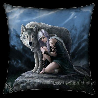 *PROTECTOR* Fantasy Wolf Maiden Art Cushion By Anne Stokes