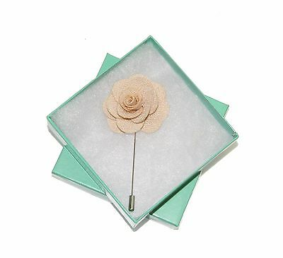 Men's Beige Floral Lapel Stick Pin & Gift Box ~ Formal Accessory Ship From USA