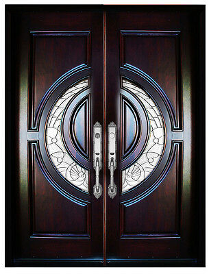 "Mahogany Double Exterior Front Entry Wood Door 580E 30""X80""X2 Righ Hand Swing In"