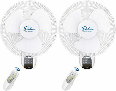 "Simple Deluxe 2-Pack 16"" Wall Mount Oscillating Exhaust Digital Fan with Remote"