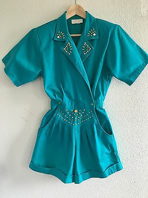 Vintage Cashe Women's M overall shorts Turquoise rhinestones