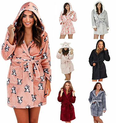 New Ladies Girls Short Hooded Fleece Bath Robe Dressing Gown Super Soft REDUCED