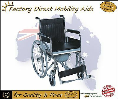 Self Propelled Wheelchair Portable Folding with Commode with bucket