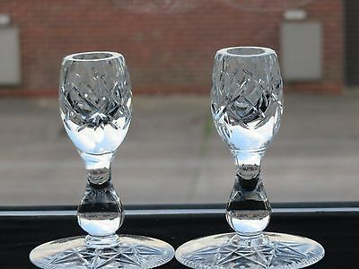 Vintage Cut Glass Lovely Crystal Candle Holders Set Of 2