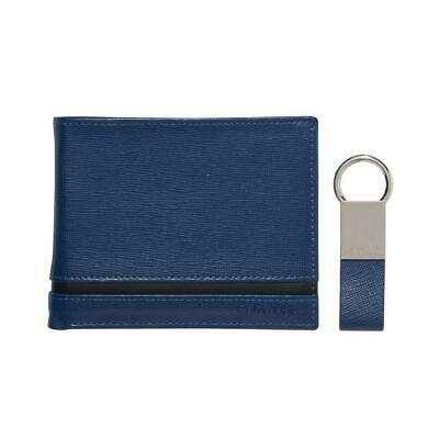 Calvin Klein Ck Men's Leather Bifold Id Wallet Key Chain Set Blue 79485