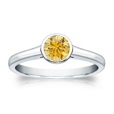 2.25 Ct Round Canary Yellow Bezel Engagement Wedding Ring Real 14K White Gold