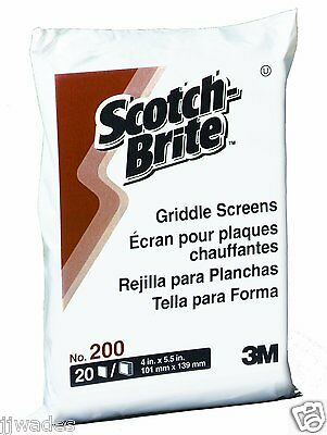 "10 PACKS OF 20 -  3M Scotch-Brite Griddle / Gill Cleaning Screen #200, 4"" x 5.5"""