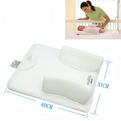 Baby Infant Safety Anti Roll Pillow Sleep Positioner Prevent Head Cushion White