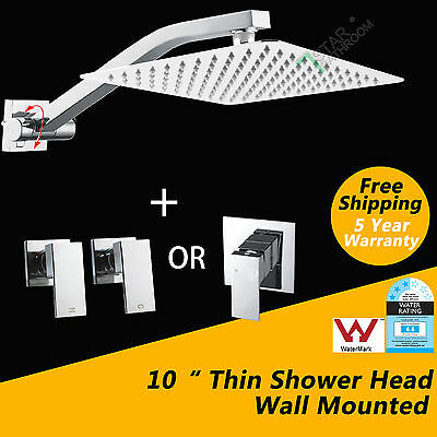 """WELS Chrome Square 10"""" Shower Head Rose Set Brass Adjustable Wall Arm Mixer Taps"""