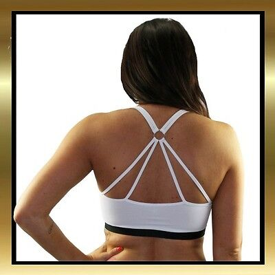 White & Black 8 Strap Dance, Pole Dancing, Yoga, Sports Double Lined Crop Top