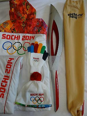 Olympic TORCH Sochi Games 2014 Official + New Uniform, 2 Putin medals, Russia