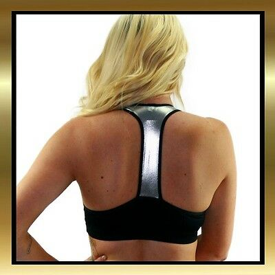 Black Spandex & Silver Wet Look Double Lined Sports Bra Top by Juicee Peach