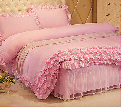 Pink Princess Duvet Quilt Cover With Pillowcase Bedding Set Single Queen King