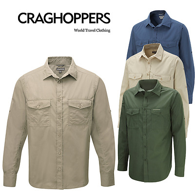 Craghoppers MEN'S SHIRT SUN PROTECTION POCKETS TRAVELLING SAFARI JUNGLE COLLING