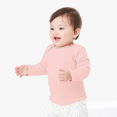 Bella+Canvas Baby Unisex Long Sleeve Envelope Neck Soft Cotton T-Shirt Top New