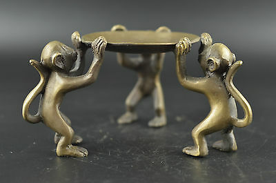 China Decorated bronze Carve 3 Lovely Exquisite Monkey Lucky Usable Candlestick