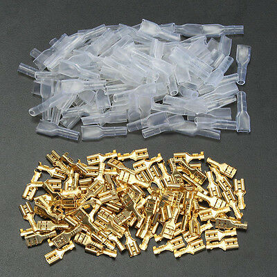 100pcs 4.8mm Insulated Brass Crimp Terminal Female Spade Connectors 22~16AWG