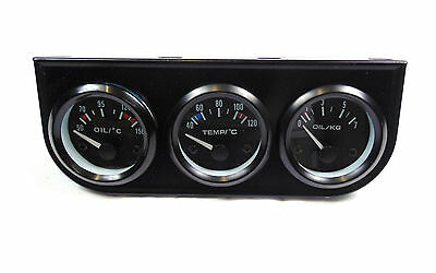Universal Oil Pressure + Oil Temperature + Water Gauge Ideal for Kit Track Car