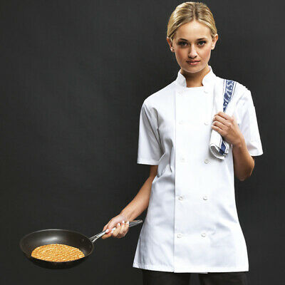 Premier Womens Short Sleeve Chef's Jacket Chef Kitchen Wear Cooking Aprons PR670