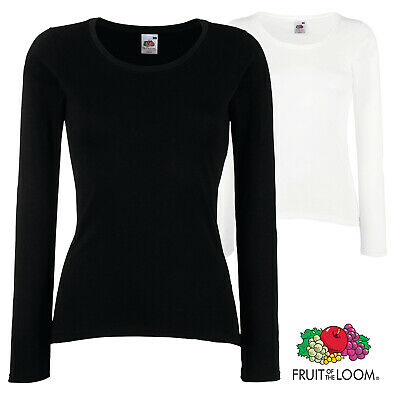 Fruit of the Loom Womens Valueweight Everyday  Long Sleeve T-Shirt Crew Neck Top