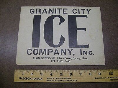 "Vtg GRANITE CITY ICE Placard Window Ice Ordering Sign 7"" by 9 1/2"" Old & COOL!"