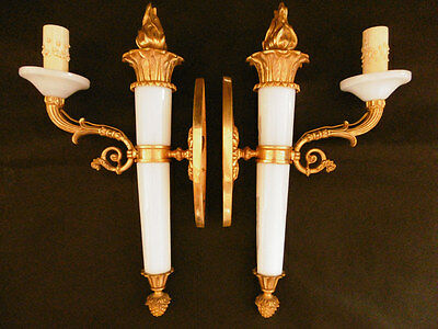 Pair Large Sconces Stamped, Bronze & Opaline, Empire Style 19Th - French Antique