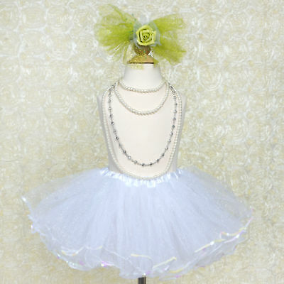 Blue Tint White Sequined TUTU SKIRT GIRLS Dance Petticoat Birthday Party Outfit