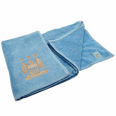 Manchester City Football Club Towel Official Man City MCFC Embroidered Crest