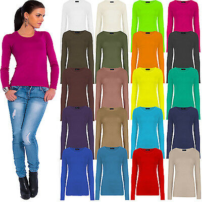 New Ladies Womens Plain Stretch T Shirt Round Scoop Neck Tee Top Fitted 8-14