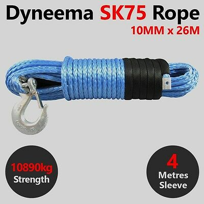 10MM X 26M Dyneema SK75 Winch Rope Hook Synthetic Recovery Offroad Cable 4x4 4wd