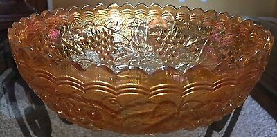 Vintage Carnival Glass Embossed Grape Bowl Marigold Irredescent Scalloped Edge