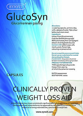 Glucomannan Konjac Fibre 500mg GlucoSyn SYNVIT® Clincally Proven, WEIGHT LOSS