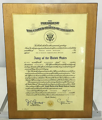 1963 US Army Officers Mounted Commissioning Certificate