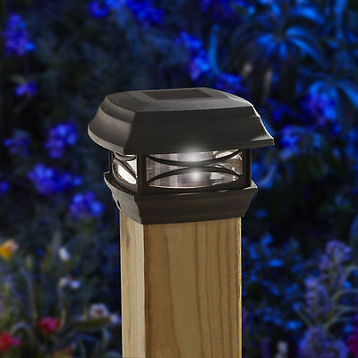 Moonrays Woods ONE 4X4 SOLAR POST CAP LIGHT BLACK 91253 fence and deck posts