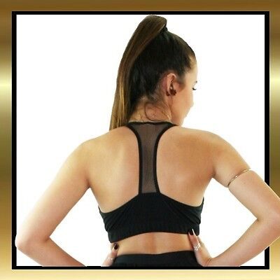 Black Spandex with Black Mesh Double Lined Sports Bra Dance Top by Juicee Peach