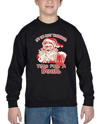 It`s The Most Wonderful Time For A Beer Youth Crewneck Funny Xmas Sweater