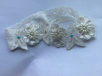 Wedding Lace Bridal Garter Embroidered Crystal Blue Pearl Flower Beaded Bride