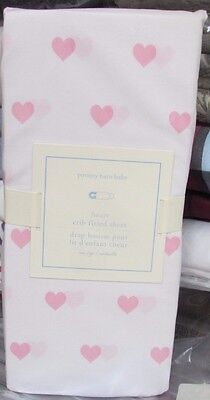 Pottery Barn Kids Light Pink Heart Crib Fitted Sheet, New In Package