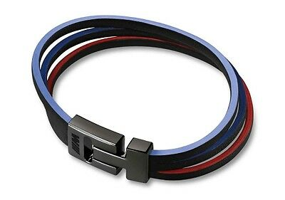 BMW Genuine M Collection Strips Mens Womens Leather Wrist Bracelet 80232410921