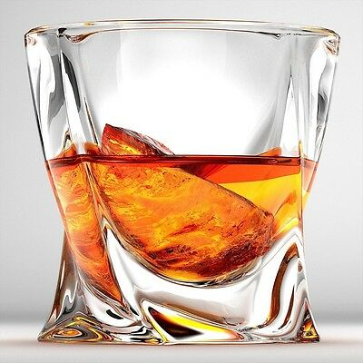 Twist Whiskey Glasses - Set Of 2. Perfect Whisky Glass or Scotch Glasses by Ashc