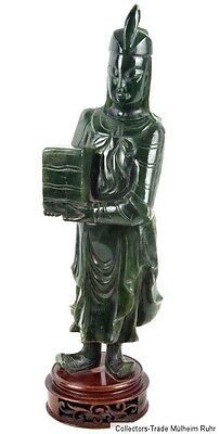 China 20. Jh. Skulptur A Chinese Spinach Jade Figure Of Man Chinois Giada Cinese