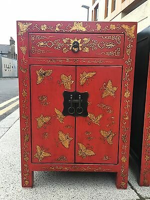 A Pair Of Chinese Erfly Cabinets Hand Painted Bedside Table Vintage Furnitur